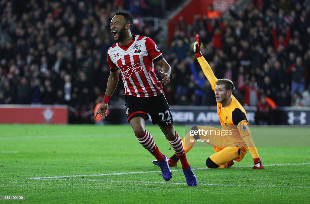 Loris Karius of Liverpool appeals as Nathan Redmond of Southampton celebrates as he scores their first goal during the EFL Cup semi-final first leg match between Southampton and Liverpool at St Mary's Stadium on January 11, 2017 in Southampton, England.