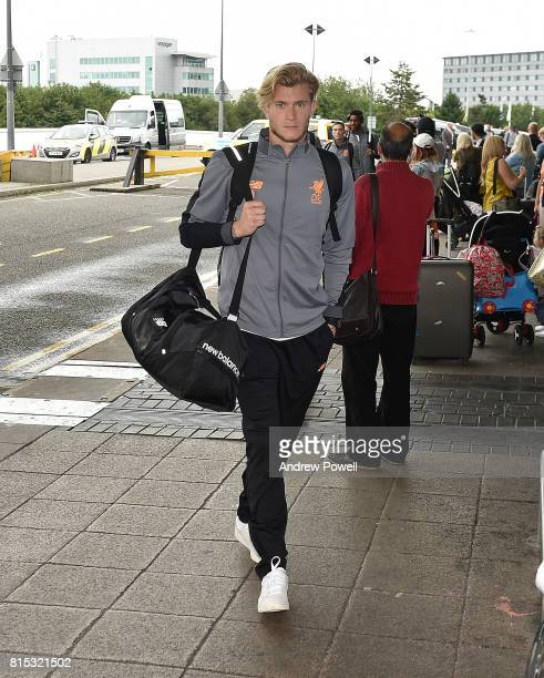 Loris Karius of Liverpool arrives at Manchester Airport on July 16 2017 in Liverpool England