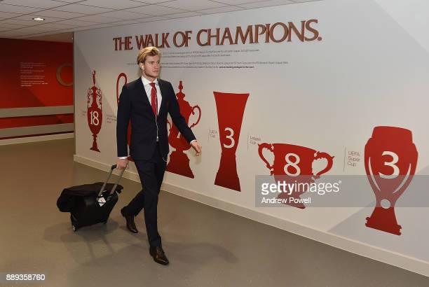 Loris Karius of Liverpool arrives before the Premier League match between Liverpool and Everton at Anfield on December 10 2017 in Liverpool England
