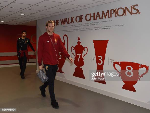 Loris Karius of Liverpool arrives before the Premier League match between Liverpool and Swansea City at Anfield on December 26 2017 in Liverpool...