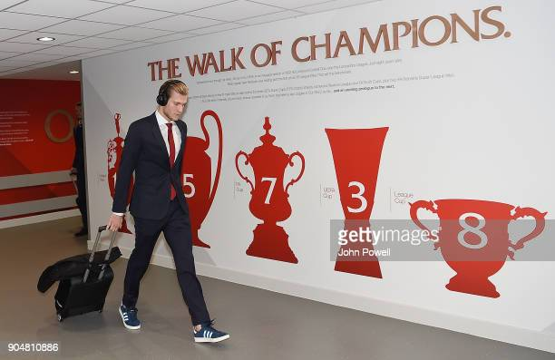 Loris Karius of Liverpool arrives for the Premier League match between Liverpool and Manchester City at Anfield on January 14 2018 in Liverpool...