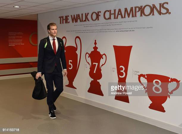 Loris Karius of Liverpool arriving before the Premier League match between Liverpool and Tottenham Hotspur at Anfield on February 4 2018 in Liverpool...