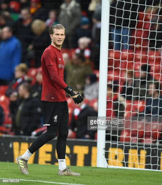 Loris Karius of Liverpool before the Premier League match between Liverpool and Leicester City at Anfield on December 30 2017 in Liverpool England