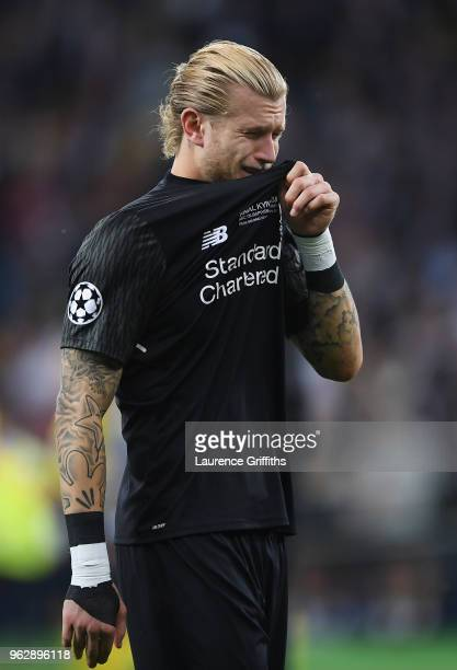 Loris Karius of Liverpool breaks down in tears after defeat in the UEFA Champions League final between Real Madrid and Liverpool on May 26 2018 in...