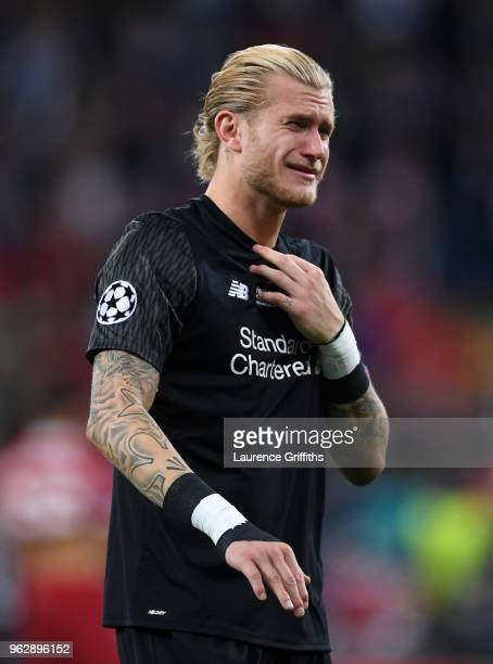 Loris Karius of Liverpool breaks down in tears after defeat in the UEFA Champions League final between Real Madrid and Liverpool on May 26, 2018 in...