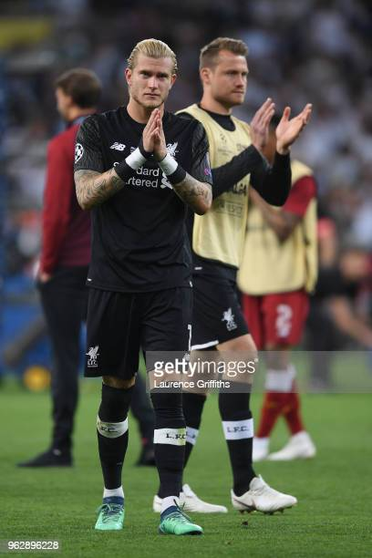 Loris Karius of Liverpool breaks down in tears in front of Simon Mignolet after defeat in the UEFA Champions League final between Real Madrid and...