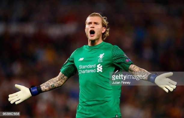 Loris Karius of Liverpool celebrates after his side score their first goal during the UEFA Champions League Semi Final Second Leg match between AS...