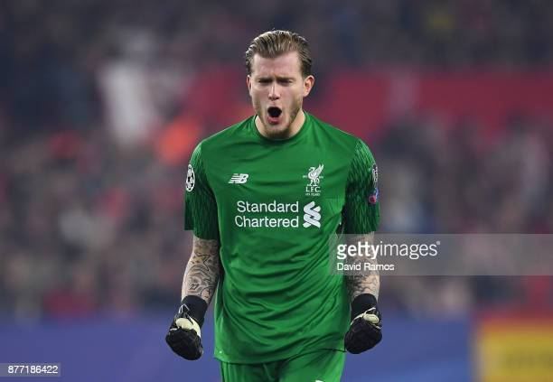 Loris Karius of Liverpool celebrates during the UEFA Champions League group E match between Sevilla FC and Liverpool FC at Estadio Ramon Sanchez...