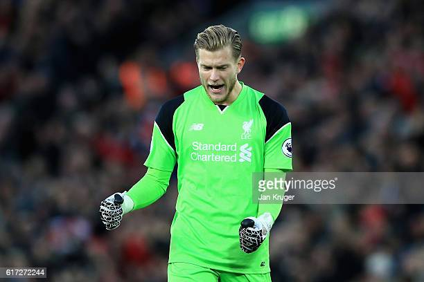 Loris Karius of Liverpool celebrates his sides first goal during the Premier League match between Liverpool and West Bromwich Albion at Anfield on...