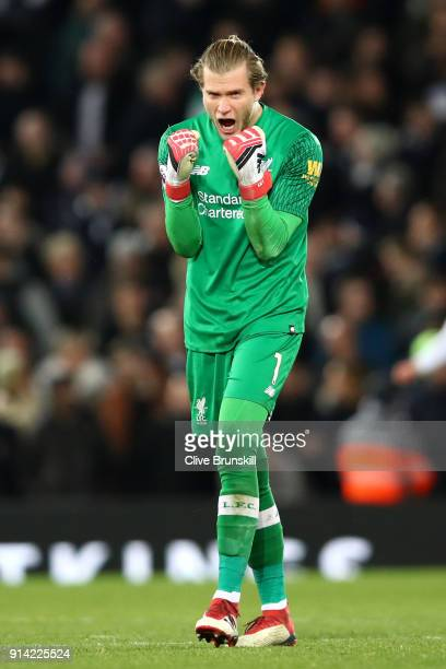 Loris Karius of Liverpool celebrates his sides second goal during the Premier League match between Liverpool and Tottenham Hotspur at Anfield on...
