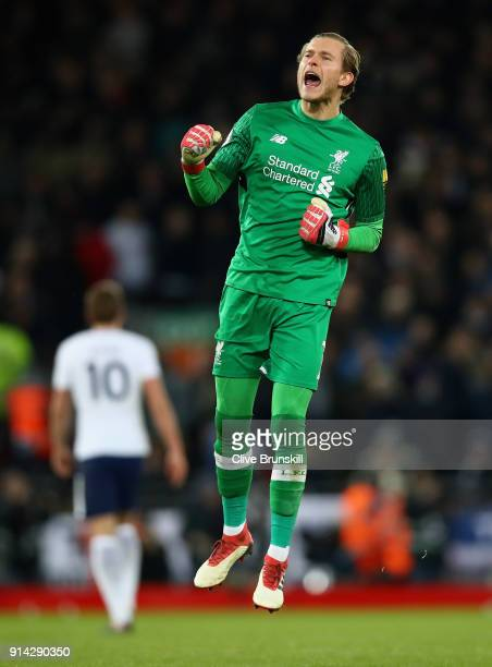 Loris Karius of Liverpool celebrates his teams second goal during the Premier League match between Liverpool and Tottenham Hotspur at Anfield on...