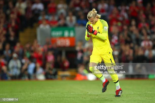 Loris Karius of Liverpool comes on for Alisson Becker of Liverpool during the preseason friendly between Liverpool and Torino at Anfield on August 7...