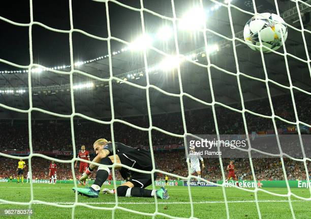 Loris Karius of Liverpool concedes for the third time during the UEFA Champions League Final between Real Madrid and Liverpool at NSC Olimpiyskiy...