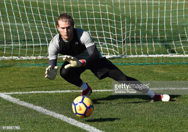 Loris Karius of Liverpool during a training session at Marbella Football Center on February 17 2018 in Marbella Spain