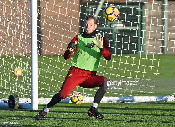 Loris Karius of Liverpool during a training session at Melwood Training Ground on November 30 2017 in Liverpool England