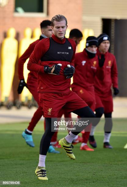 Loris Karius of Liverpool during a training session at Melwood Training Ground on December 28 2017 in Liverpool England