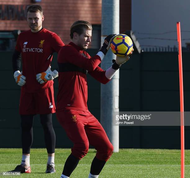Loris Karius of Liverpool during a training session at Melwood Training Ground on January 10 2018 in Liverpool England