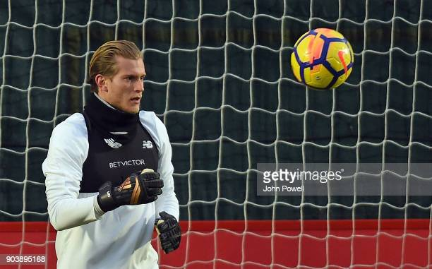 Loris Karius of Liverpool during a training session at Melwood Training Ground on January 11 2018 in Liverpool England