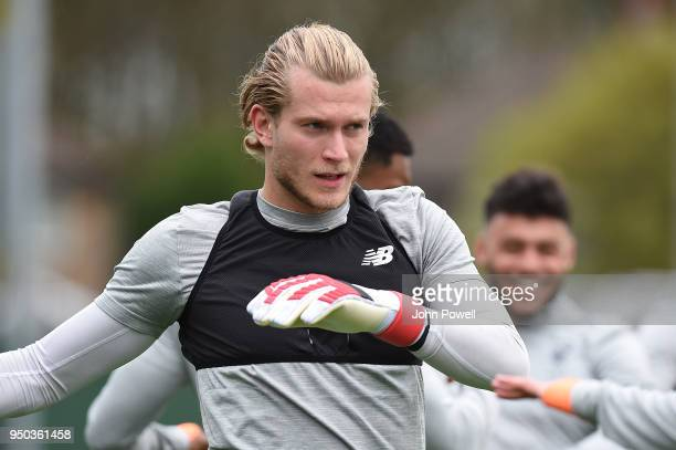 Loris Karius of Liverpool during a training session at Melwood Training Ground on April 23 2018 in Liverpool England