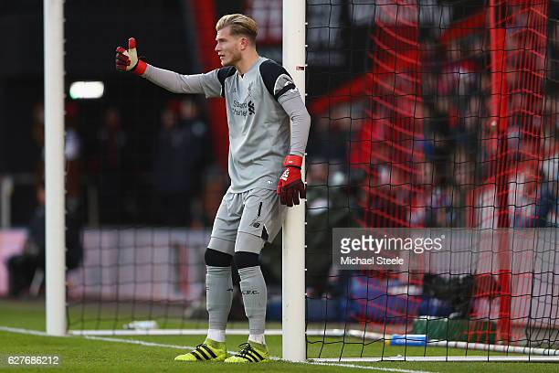 Loris Karius of Liverpool during the Premier League match between AFC Bournemouth and Liverpool at the Vitality Stadium on December 4 2016 in...