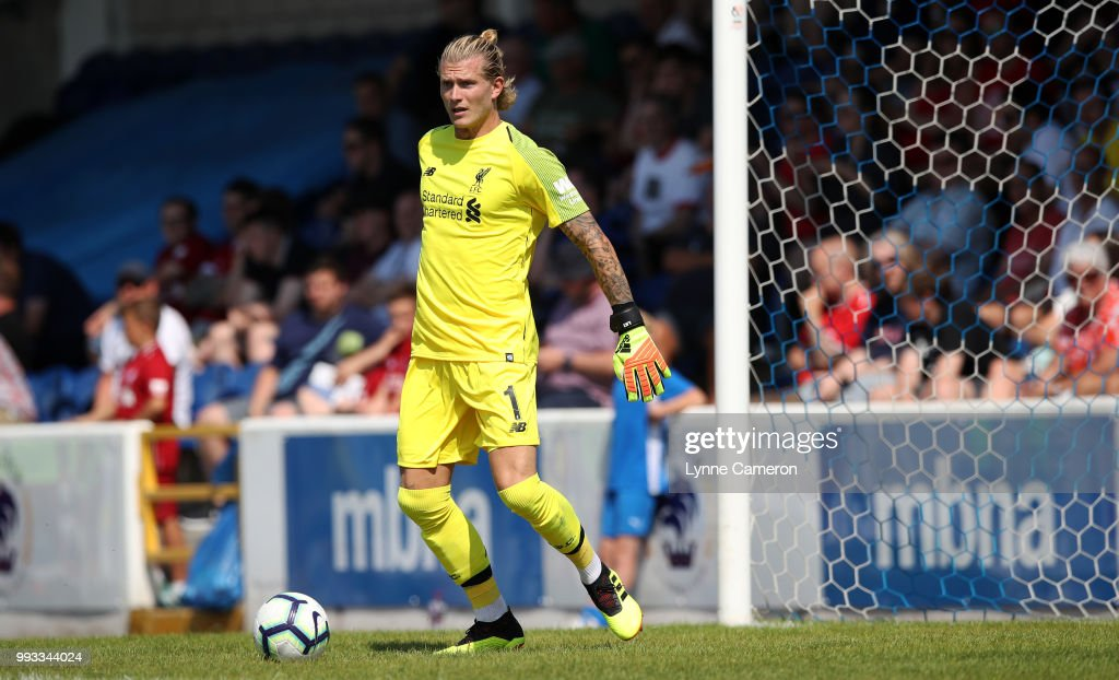 Loris Karius of Liverpool during the Pre-season friendly between Chester FC and Liverpool on July 7, 2018 in Chester, United Kingdom.