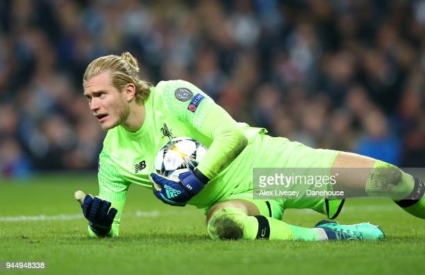 Loris Karius of Liverpool during UEFA Champions League Quarter Final Second Leg match between Manchester City and Liverpool at Etihad Stadium on...
