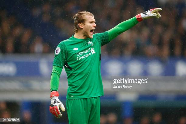 Loris Karius of Liverpool gives his team instructions during the Premier League match between Everton and Liverpool at Goodison Park on April 7 2018...