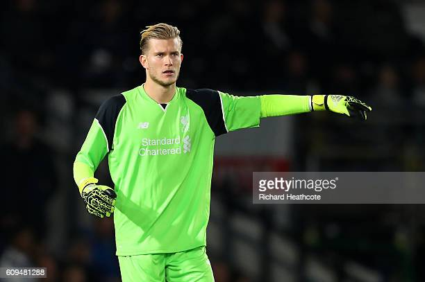 Loris Karius of Liverpool in action during the EFL Cup Third Round match between Derby County and Liverpool at iPro Stadium on September 20 2016 in...