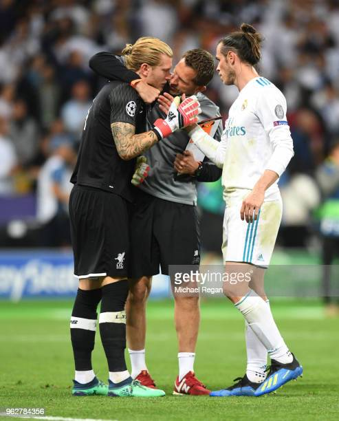 Loris Karius of Liverpool is consoled by Gareth Bale of Real Madrid following the UEFA Champions League Final between Real Madrid and Liverpool at...