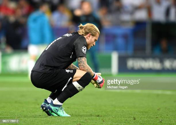 Loris Karius of Liverpool looks dejected after conceeding a third goal during the UEFA Champions League Final between Real Madrid and Liverpool at...