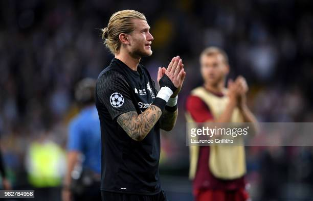 Loris Karius of Liverpool looks dejected following his sides defeat in the UEFA Champions League Final between Real Madrid and Liverpool at NSC...
