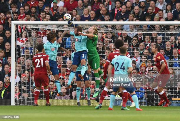 Loris Karius of Liverpool makes a save during the Premier League match between Liverpool and AFC Bournemouth at Anfield on April 14 2018 in Liverpool...