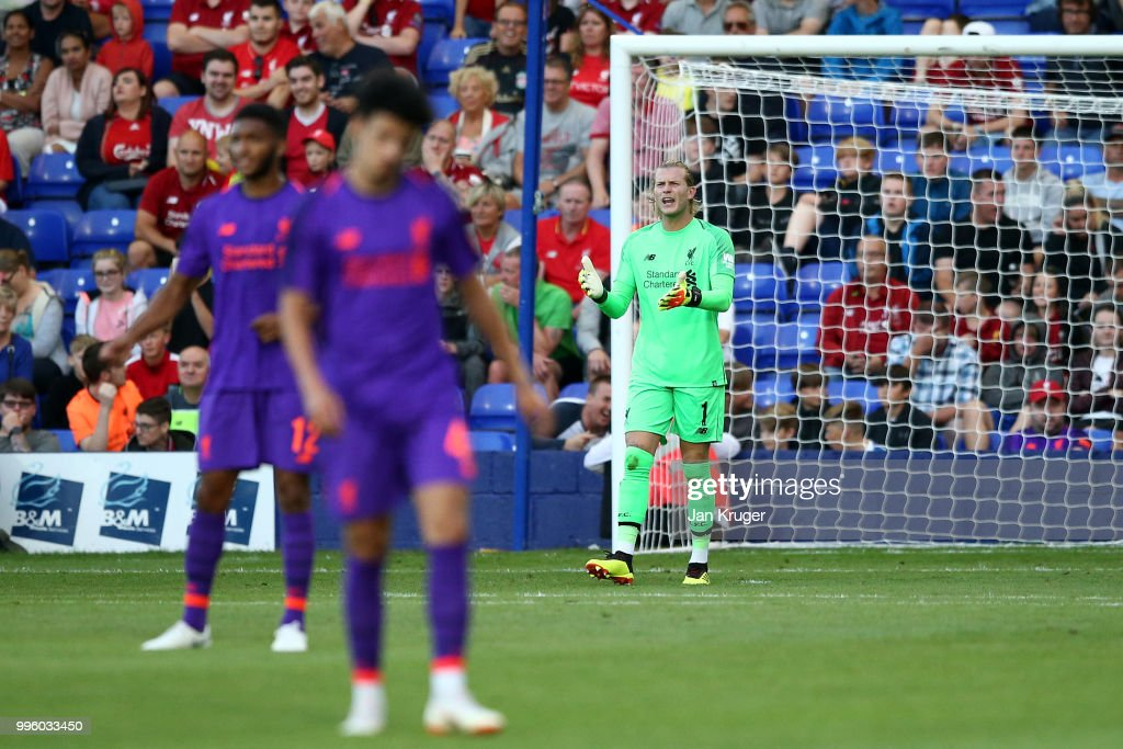 Loris Karius of Liverpool reacts after letting in a second goal during the Pre-Season Friendly match between Tranmere Rovers and Liverpool at Prenton Park on July 11, 2018 in Birkenhead, England.