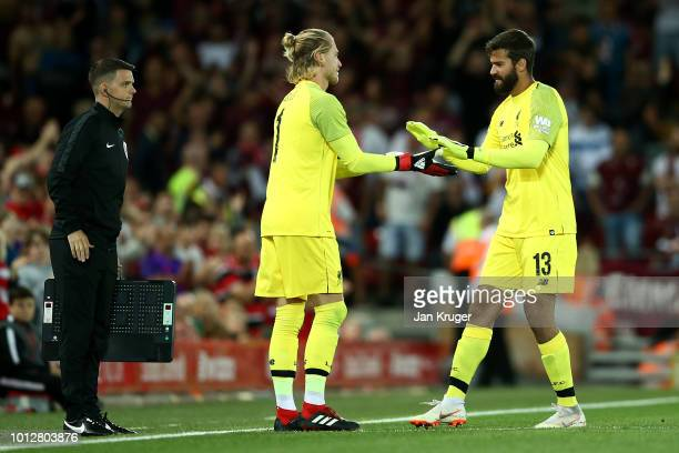 Loris Karius of Liverpool replaces Alisson Becker during the preseason friendly match between Liverpool and Torino at Anfield on August 7 2018 in...