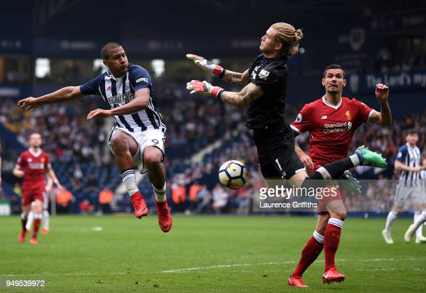 Loris Karius of Liverpool saves a shot from Jose Salomon Rondon of West Bromwich Albion during the Premier League match between West Bromwich Albion...