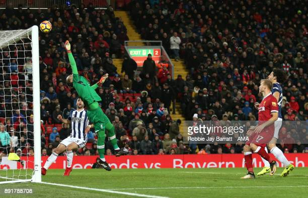 Loris Karius of Liverpool saves the header of Ahmed Hegazi of West Bromwich Albion during the Premier League match between Liverpool and West...