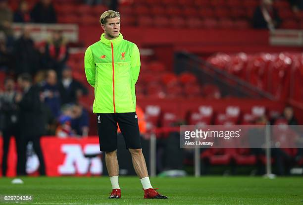 Loris Karius of Liverpool stands during the warm up prior to the Premier League match between Middlesbrough and Liverpool at Riverside Stadium on...