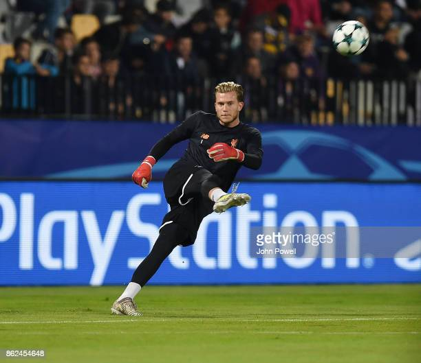 Loris Karius of Liverpool warming up before the UEFA Champions League group E match between NK Maribor and Liverpool FC at Stadion Ljudski vrt on...