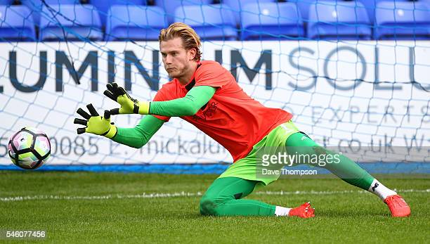 Loris Karius of Liverpool warms up during the PreSeason Friendly match between Tranmere Rovers and Liverpool at Prenton Park on July 8 2016 in...