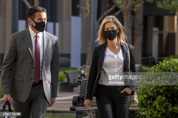 LoriWright, vice president of Xbox business development atMicrosoft Corp., right, arrives at U.S. District court in Oakland, California, U.S., on...
