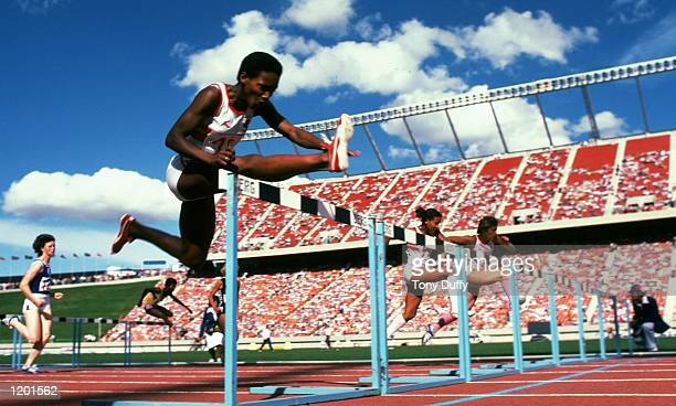 Lorna Boothe Sharon Colyear and Shirley Strong of England in action during the 100 metres Hurdles event at the Commonwealth Games in Edmonton Canada...