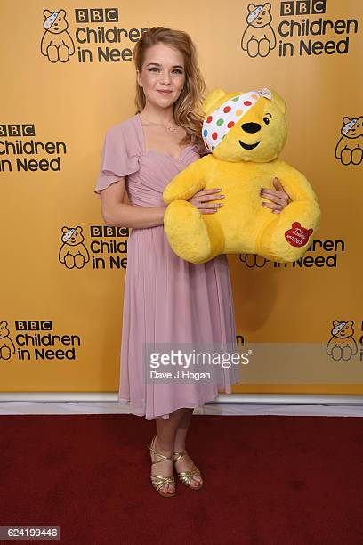 Lorna Fitzgerald shows support for BBC Children in Need at Elstree Studios on November 18 2016 in Borehamwood United Kingdom