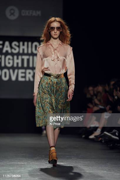 Lorna Foran walks the runway at the Oxfam Fashion Fighting Poverty Catwalk Show at Ambika P3 on February 18, 2019 in London, England.