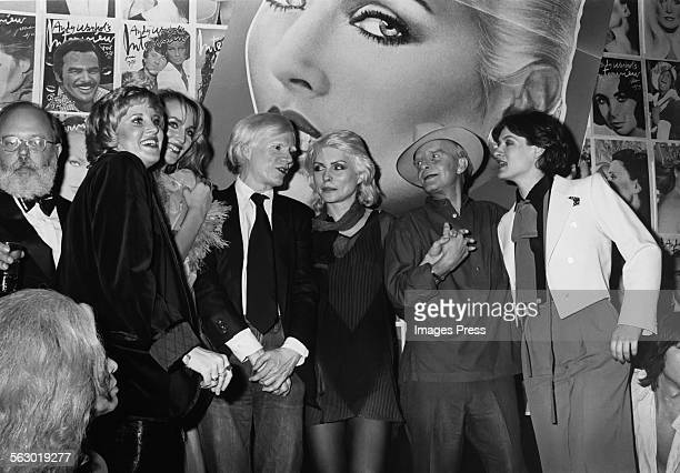 Lorna Luft Jerry Hall Andy Warhol Debbie Harry Truman Capote and Paloma Picasso at the Interview Party at Studio 54 circa 1979 in New York City
