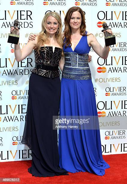 Lorna Want and Katie Brayben pose in the winners room at The Olivier Awards at The Royal Opera House on April 12, 2015 in London, England.
