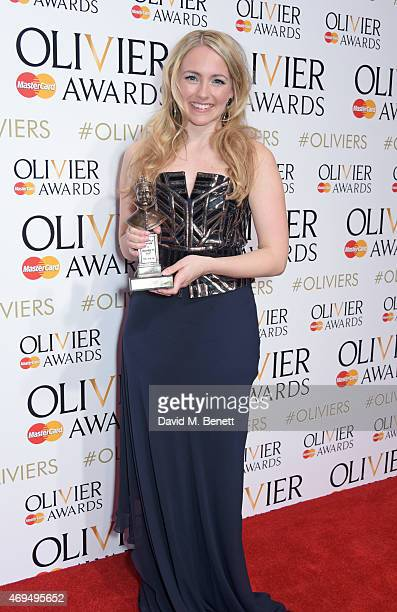 Lorna Want winner of the Best Actress In A Supporting Role award for Beautiful The Carole King Musical poses in the winners room at The Olivier...