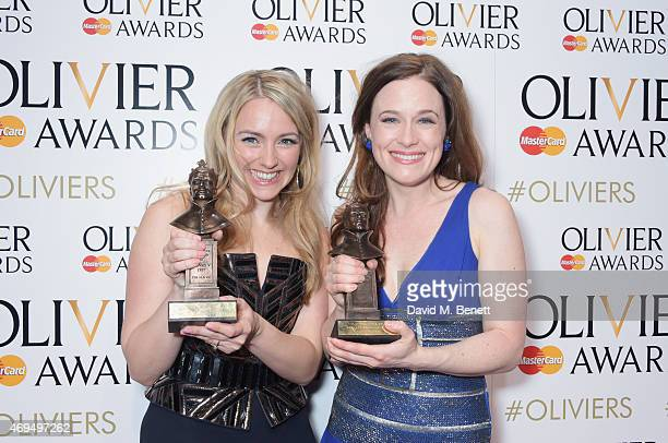 Lorna Want winner of the Best Actress In A Supporting Role award for Beautiful The Carole King Musical and Katie Brayben winner of Best Actress In A...