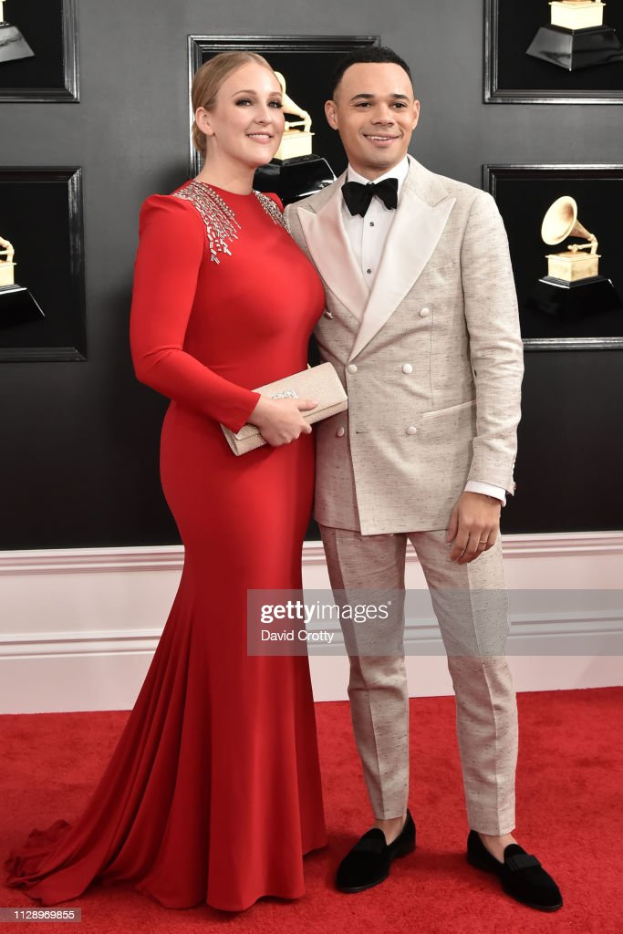 Lorna Wells and Tauren Wells attend the 61st Annual Grammy ...