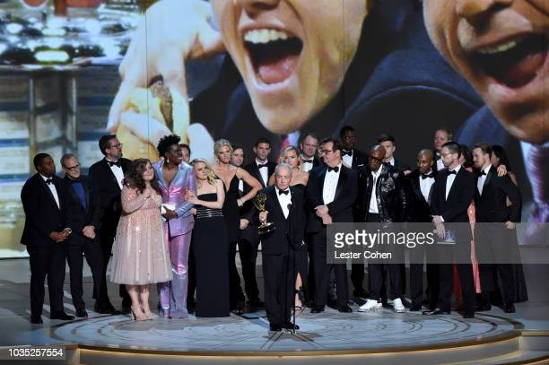 Lorne Michaels and cast and crew accept the award for Outstanding Variety Sketch Series 'Saturday Night Live' onstage during the 70th Emmy Awards at...