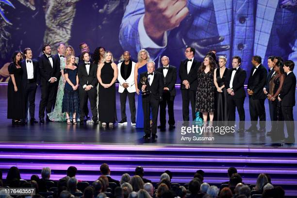 Lorne Michaels and cast and crew of 'Saturday Night Live' accept the Outstanding Variety Sketch Series award for 'Saturday Night Live' onstage during...